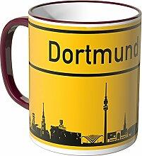 Wandkings® Tasse, Skyline Dortmund - BORDEAUX
