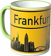 WANDKINGS® Tasse, Skyline Frankfurt - HELLGRÜN