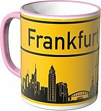 WANDKINGS® Tasse, Skyline Frankfurt - ROSA