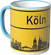 WANDKINGS® Tasse, Skyline Köln - BLAU