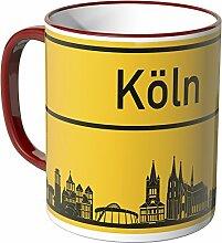 WANDKINGS® Tasse, Skyline Köln - ROT