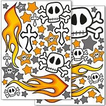 Wandkings Totenkopf und Flammen Wandsticker Set,