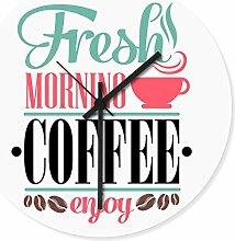 Wandkings Wanduhr mit farbenfrohen Motiven - Wähle ein Motiv - Fresh Morning Coffee