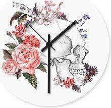 Wandkings Wanduhr mit farbenfrohen Motiven - Wähle ein Motiv - Flower Skull