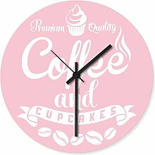 Wandkings Wanduhr mit farbenfrohen Motiven - Wähle ein Motiv - Coffee and Cupcakes Rosa