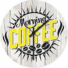 Wandkings Wanduhr mit farbenfrohen Motiven - Wähle ein Motiv - Morning Coffee gelb