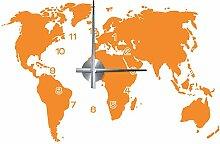 WANDKINGS Weltkarte Wanduhr Wandtattoo (Farbe: