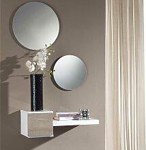 Wandkonsole und Spiegel in Weiß Hochglanz Eiche