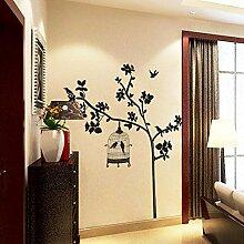 Wandkunst Aufkleber Black Birds Cage Blume Ast
