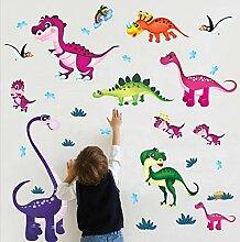 Wandkunst Aufkleber Cartoon Bunte Dinosaurier Welt