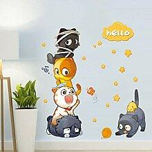 Wandkunst Aufkleber Cartoon Tier Katzen