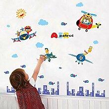 Wandkunst Aufkleber Cartoon Tier Pilot Air Patrol
