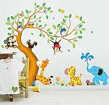Wandkunst Aufkleber Große Cartoon Tier Zoo 3D
