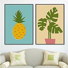 Wandkunst Leinwand Malerei Cartoon Pflanze Ananas