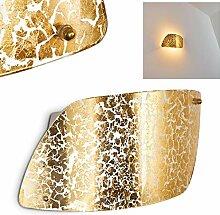 Wandlampe Anzio aus Glas in Gold, moderne