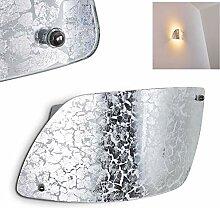 Wandlampe Anzio aus Glas in Silber, moderne