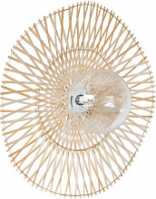 Wandlampe aus Glas und goldfarbenem Bambus