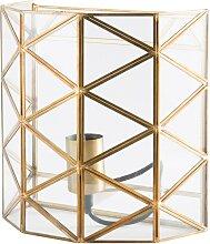 Wandlampe aus Glas und goldfarbenem Metall