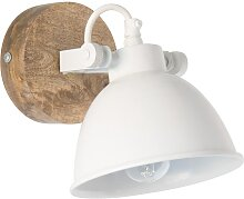 Wandlampe aus Metall, weiß und Mangoholz