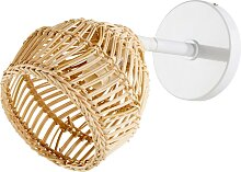 Wandlampe aus Naturfaser und weißem Metall