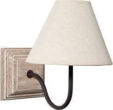 Wandlampe aus Paulownienholz in Antikoptik mit