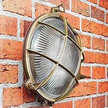 Wandlampe Außen Antik Echt-Messing Rostfrei E27
