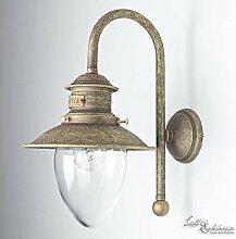 Wandlampe Außen Echt-Messing Antik Bronziert Matt