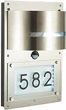 Wandlampe Außenleuchte Außenlampe Hausnummer Bewegungsmelder Edelstahl IP44 LED geeignet Wandleuchte Lampe
