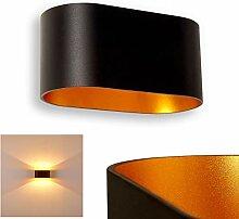 Wandlampe Dapp aus Metall in Schwarz/Gold, moderne