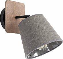 Wandlampe Grau Holz E27 mit Stoffschirm moderne
