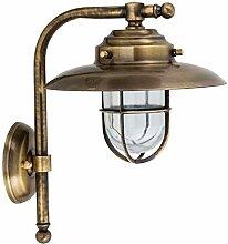 Wandlampe KAVALA Messing Glas IP43 Maritim