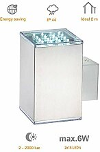 Wandlampe LED-Block Edelstahl Wandleuchte