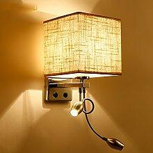 Wandlampe LED-Wand-Leselampe am Bett mit Switch-Fabric Nordic gemütliche Hotelzimmer Hotelschlafzimmer Flur Flur ( Farbe : Braun )