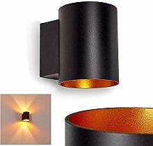 Wandlampe Letsbo aus Metall in Schwarz/Gold,