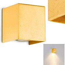 Wandlampe Matera Down aus Metall in Gold, eckige