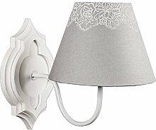 Wandlampe MATHILDE weiß grau Blumenmuster