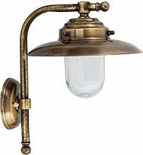 Wandlampe Messing Glas IP64 H:30cm Maritime