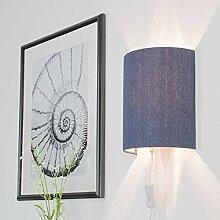 Wandlampe mit Kabel Stecker Blau Jeans Stoff