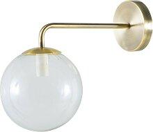 Wandlampe mit Kugelschirm aus Glas und