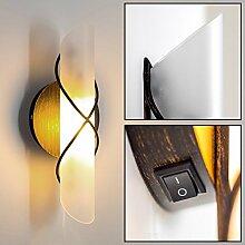Wandlampe Palma im außergewöhnlichen Design - Wandstrahler in Gold und Braun mit Schirm aus Echtglas - Wandleuchte mit Schalter - Wohnzimmer Wand Lampe - Wandleuchte Schlafzimmer