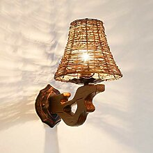 Wandlampe Rattan Lampe Retro Lounge Restaurant