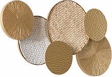 Wandlampe Scheiben aus goldenem Metall und Rattan
