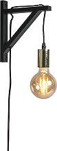 Wandlampe schwarz mit Gold - Henker