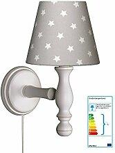 Wandlampe Sterne grau/weiß