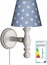 Wandlampe Sterne hellblau/weiß
