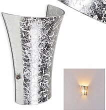 Wandlampe Terni aus Metall/Glas in Silber, moderne