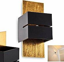 Wandlampe Tora aus Metall in Schwarz/Gold mit