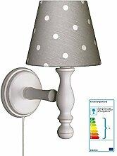 Wandlampe Tupfen grau/weiß