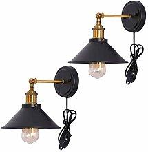 Wandlampe Vintage Verstellbar Schwarz Metall