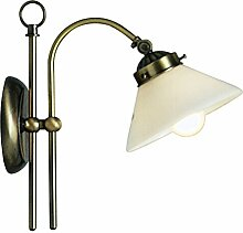 Wandlampe Wandleuchte Leselampe Messing Glas Opal Leuchte Licht Globo 6872